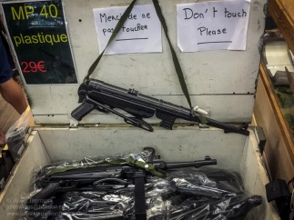 Plastic German MP 40's for sale in the 'Paratrooper' shop at the Dead Man's Corner Museum. Photo: Julian Tennant