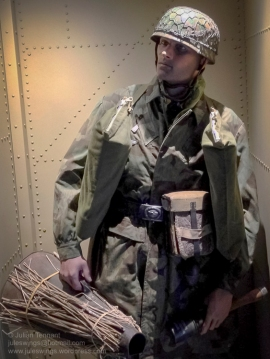 German paratrooper on display at Dead Man's Corner Museum, Normandy, France. Photo: Julian Tennant