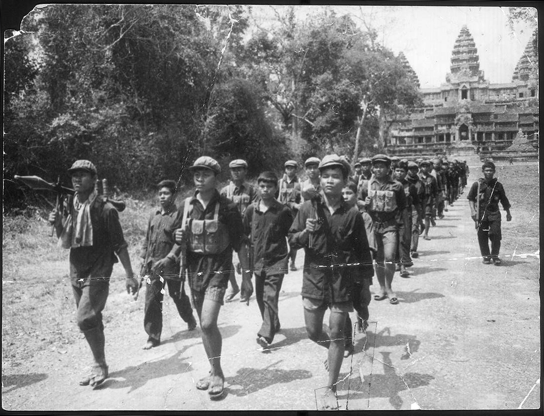 Khmer Rouge soldiers march at Angkor Wat. — Documentation Center of Cambodia