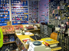 Interior of well known militaria dealer, Andrew Butler's 6thjune1944.com / Butler's shop in Sainte-Mère-Église. Photo: Julian Tennant