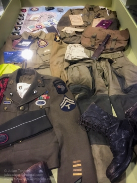 Various uniform and personal items belonging to paratroopers of the 101st Airborne Division at the D-Day Experience museum. Photo: Julian Tennant