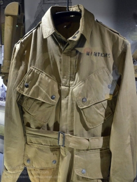 "M42 paratrooper jacket of Maj. Richard D. ""Dick"" Winters, CO of the 2nd Battalion, 506 PIR. Photo: Julian Tennant"