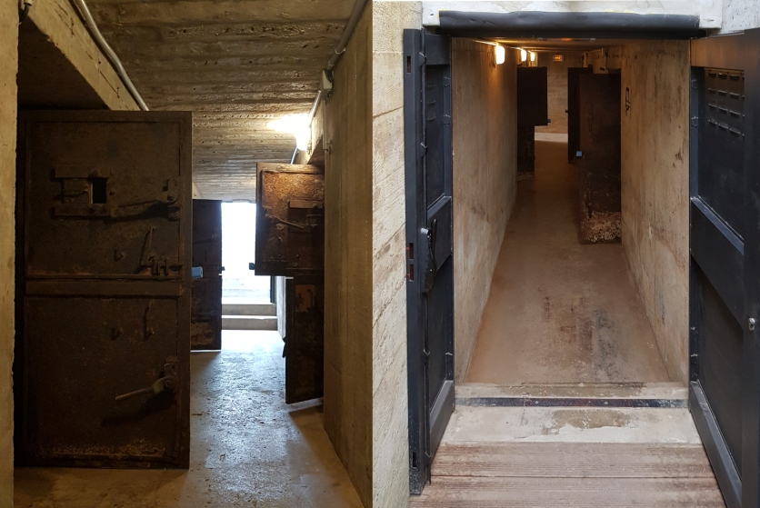 Merville Battery Magazine bunker. The battery has two of these bunkers, one not yet fully restored. This one features two store rooms, one for the shells and the other for the charge-bags. Photo courtesy of the Merville Museum.