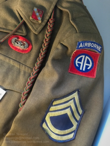 Insignia detail on a M-1944 NCO's field jacket from the 319th Glider Field Artillery Battalion of the 82nd Airborne Division. Photo: Julian Tennant