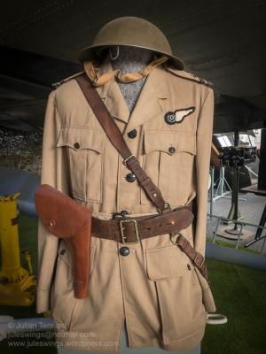 RAAF Observer officer's tunic, sam-browne belt and helmet. Photo: Julian Tennant