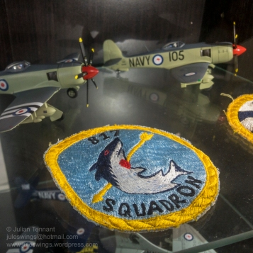 Patch and model aircraft representing the Royal Australian Navy's 817 Squadron. The construction of this patch leads me to believe that it is probably Japanese made and dates from the 1950's or 60's. Photo: Julian Tennant.