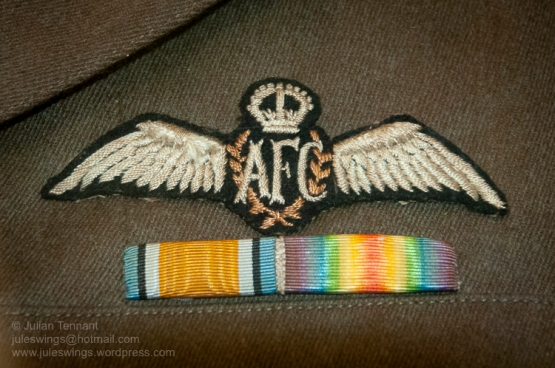WW1 Australian Flying Corps (AFC) brevet and medal ribbons. Whilst this example is original, the wing featured on the tunic worn by the pilot mannequin at the Sopwith Camel is one of the cheap reproductions that are made by Lukus Productions and sold for $10 in the museum shop. Photo: Julian Tennant
