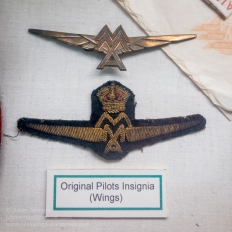 Original 1927 period insignia worn by pilots of MacRobertson Miller Airlines (MMA), a civil aviation company established in 1927 and flying until 1993. Photo: Julian Tennant