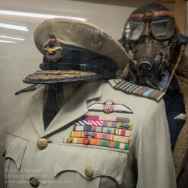 Uniform of Air Chief Marshal Sir Basil Embry G.C.B., K.B.E., D.S.O. and 3 bars, D.F.C., A.F.C., R.A.F. Danish Order of Dannebrog, Commander 1st Class Dutch Order of Orang Nassau, Grand Officer French Croix d Guerre, Legion d'honneure, Croix de Commandeur. Photo: Julian Tennant