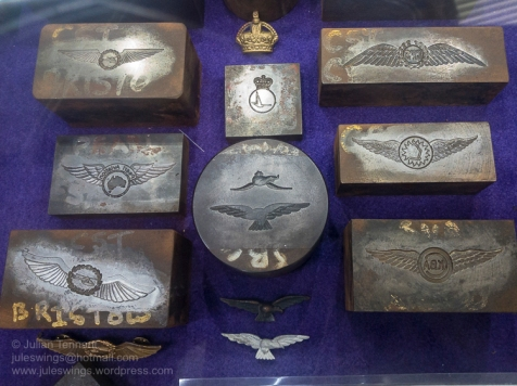 Selection of metal dies from the insignia manufacturer Sheridans, Perth that were used to make various aviation badges. Photo: Julian Tennant