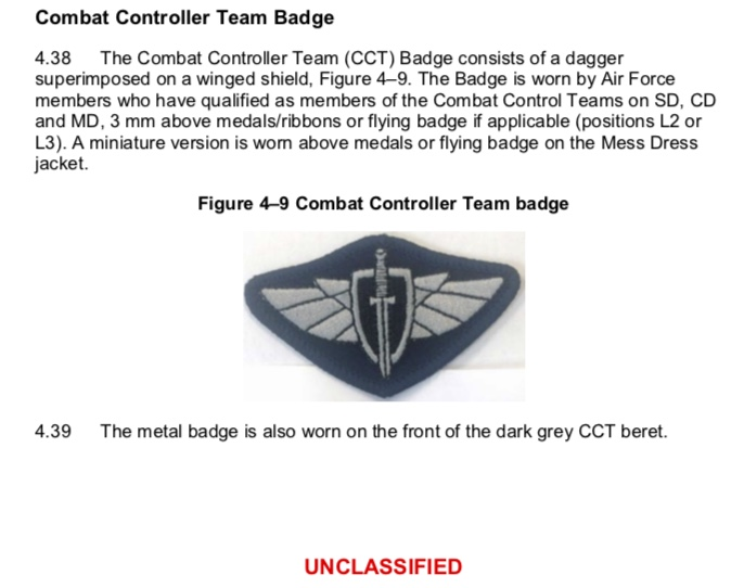 CCT badge dress regs