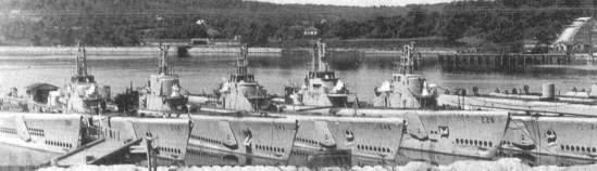 Decommissioned submarines circa 1947