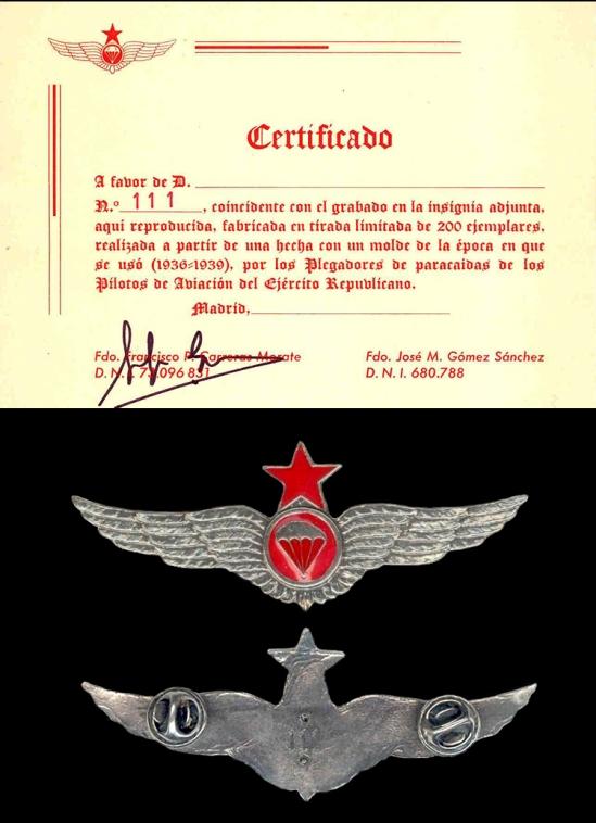 REPRODUCTION Spanish Civil War Republican parachute badge