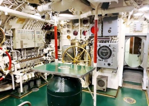 Cobia's maneuvering room. Cobia still starts! Guests are kindly asked to not turn knobs or flip switches. Photo: Courtesy of the Wisconsin Maritime Museum