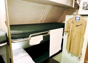 USS Cobia's officer's bunks The Cobia has one 3 bunk and one 4 bunk room for its 7 officers. Photo: Courtesy of the Wisconsin Maritime Museum