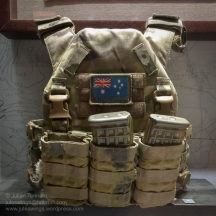 Australian Army Plate Carrier used by Private Brian Enad whilst serving with 6RAR in Afghanistan in 2010. Photo: Julian Tennant