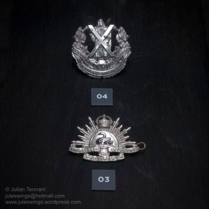 16th Battalion hat badge (top). This was a militia unit that has been based in the region since 1900. A Company, 16th Battalion (Cameron Highlanders of Western Australia) operated locally from 1952-1960. Below is the 84th Infantry hat badge. This badge was worn by members of the Goldfields Infantry Regiment c1903-21. Below is the . Photo: Julian Tennant