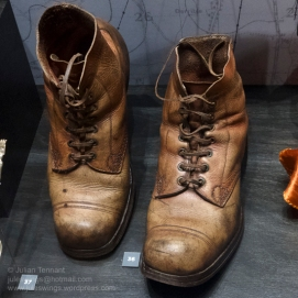Australian Army issue boots worn by Gunner Albert Skane of Boulder while garrisoned at Rottnest Island and Swanbourne, 1941 - 1945. Photo: Julian Tennant