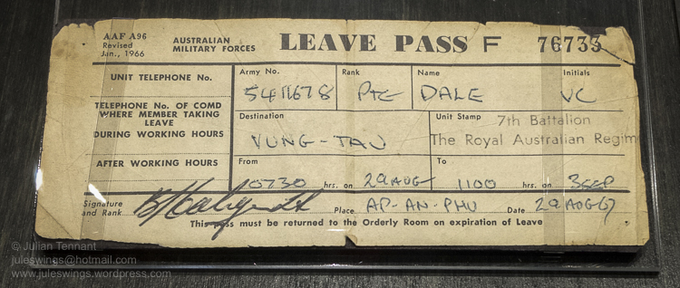 Goldfields War Museum vietnam leave pass-01