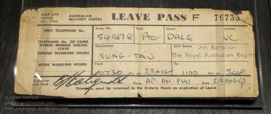 Goldfields War Museum vietnam leave pass-01