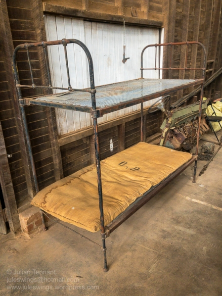 True luxury! Double bunk bed and army issue mattress used by troops stationed in Nungarin during WW2. Photo: Julian Tennant