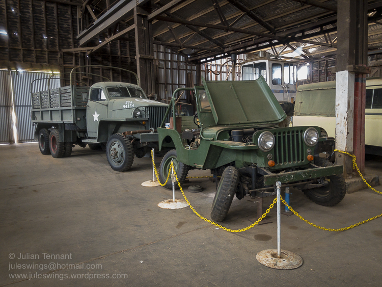 American Studebaker US6 2½-ton 6x6 truck and Willys Jeep (currently undergoing repair). Photo: Julian Tennant