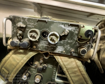 An old Vietnam era AN/PRC-77 radio set and harness. Fully restored working WW2 period searchlight and generator, which has occasionally been dragged out to illuminate the night sky around Nungarin. Photo: Julian Tennant