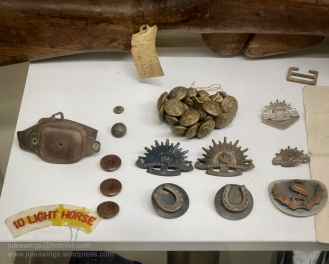 Selection of military badges, buttons and a watch strap on display at the Nungarin Heritage Machinery and Army Museum. Fully restored working WW2 period searchlight and generator, which has occasionally been dragged out to illuminate the night sky around Nungarin. Photo: Julian Tennant