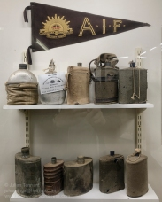 Various old military water bottles on display at the Nungarin Heritage Machinery and Army Museum. Photo: Julian Tennant