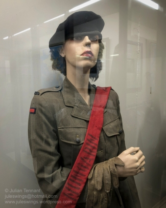 Australian Women's Army Services (AWAS) uniform donated to the museum by Linda Robertson (nee Lynch) who served at 5BOD Nungarin, No.2 Depot-Gun & Ack Ack for a period of approximately 18 months during WW2. Linda's job was to issue 25 pounder gun parts and search-light components. Photo: Julian Tennant