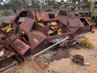 Rusted shells of armoured cars awaiting salvage on the grounds of the Nungarin Heritage Machinery and Army Museum. Photo: Julian Tennant