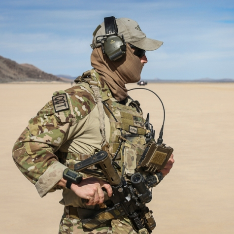 A Combat Controller from No. 4 Squadron Combat Control Team conducts an airfield survey on a dry lake bed in the Nevada Test and Training Range. Photo: Department of Defence