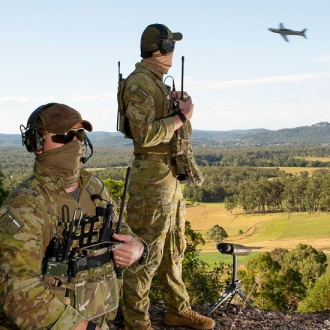 Combat Controllers from No. 4 Squadron based at RAAF Base Williamtown practice close air support serials with PC-21 aircraft during Exercise Havoc Strike. Combat Control Teams (CCT) from No. 4 Squadron participated in Exercise Havoc Strike from 25 May – 12 June 2020 near Buladelah, New South Wales. Havoc Strike is a tactical level exercise in support of No. 4 Squadron combat control Mission Specific Training objectives. The training concentrates on preparing Combat Control Teams for the application of Close Air Support, Rules of Engagement and Laws of Armed Conflict. The exercise has two phases; a theory phase, conducted at RAAF Williamtown, NSW, followed by a practical close air support phase in a training area near the town of Bulahdelah, NSW. Photo: Department of Defence