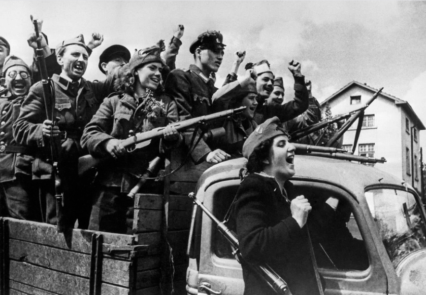 Bulgarian partisans of the Bulgarian Fatherland Front resistance movement enter the capital city of Sofia. September, 1944