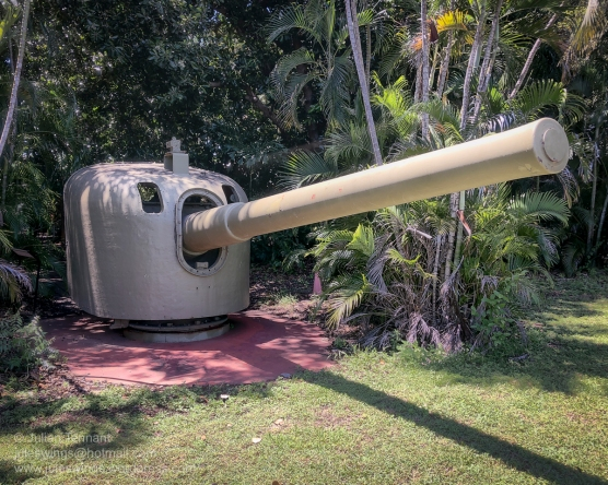 6-inch Naval Gun. This gun was originally on HMAS Brisbane and was subsequently deployed to East Point to form part of Darwin's coastal defence. After the war the guns were manned by the local militia unit, 121 Medium Coast Battery and remained in service until 30 June 1960, when the battery was disbanded. During its operational life, this gun was situated on the cliff some 300m to the right of the museum. Photo: Julian Tennant