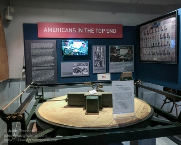 Americans in the Top End display commemorating the close relationship between the US military and the Northern Territory since WWII. In the foreground is a plotting table from the command post of the two 9.2 inch guns that were located at East Point. Photo: Julian Tennant