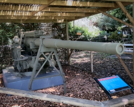 3.7 inch Anti-Aircraft gun. 3.7 inch guns were employed extensively around Darwin during WW2. A battery of these guns were sited on the old Darwin Oval and were the first guns to engage the attacking Japanese on 19 February 1942, firing around 800 rounds in the first raid from 0958 to 1020 hrs. Photo: Julian Tennant