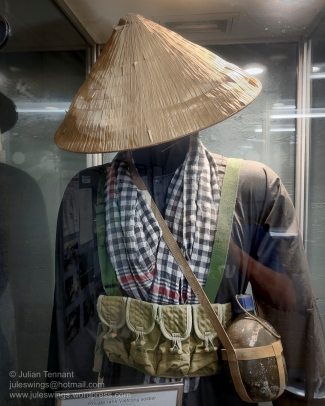 Viet Cong uniform and equipment display in the Vietnam War section of the Darwin Military Museum. Photo: Julian Tennant