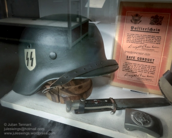 WWII German items on display, although the authenticity of the helmet is questionable. Photo: Julian Tennant