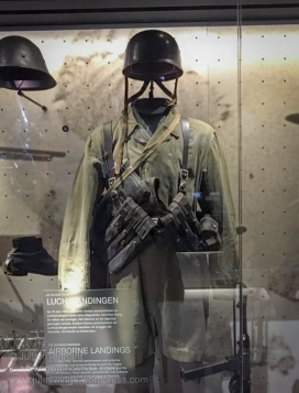 German parachutists uniform, 1940. On 10 May 1940, German airborne troops captured three airfields around The Hague. Their objective being to capture the Queen, Cabinet and Dutch military leadership. Around the same time other German airborne troops captured the bridges at Moerdijk, Dordrecht and Rotterdam. Photo: Julian Tennant