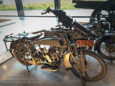 Military variant of the Dutch Eysink Motorcycle which has been adapted to transport a Schwarlose machine gun. Photo: Julian Tennant