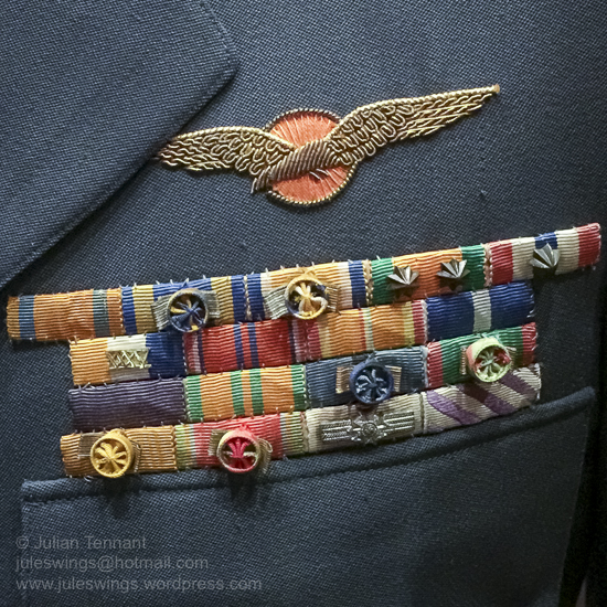 Air Force uniform detail showing the military pilot's qualification and various decorations. Photo: Julian Tennant