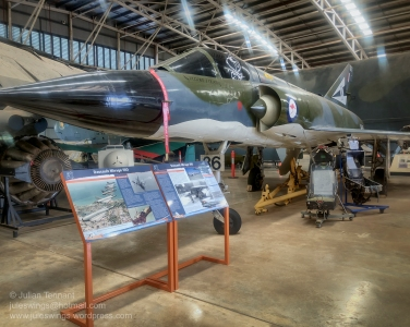 Royal Australian Air Force Dassault Mirage IIIO A3-36 which began service with the RAAF on 3 May 1966. The Mirage 111O was Australia's front line fighter from the early 1960s when it replaced the Sabre through to 1989 when it was in turn replaced by the F-18 Hornet. On 27 May 1985 this aircraft was being flown by Flight Lieutenant (later Air Vice-Marshall) John A. Quaife RAAF when it crashed on the Ludmilla mud flats near the Darwin suburb of Coconut Grove. Quaife was able to eject at 1,000 feet and 200 knots and landed safely in mangroves with only minor injuries. The crash was found to be due to a compressor stall/loss of thrust whilst in a circuit. The unmanned aircraft conducted a controlled landing on the mudflats and was recovered largely intact. The Mirage was acquired by the Aviation Historical Society of the NT and remained at the Darwin Museum on display until October 2001 when it was loaned to No.75 Squadron for restoration and display purposes during the Squadron's 60th Anniversary in 2002. It was taken by Chinook helicopter to the RAAF Base Tindal where it was refurbished by 75 Squadron for static display at the Darwin Museum. It was returned to the Aviation Heritage Centre of Darwin on 23 November 2005. Photo: Julian Tennant