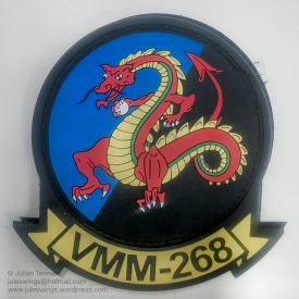 """PVC US Marine Corps Medium Tiltrotor Squadron 268 (VMM-268) patch. VMM-268 is a United States Marine Corps helicopter squadron consisting of MV-22 """"Osprey"""" transport aircraft. The squadron, known as the """"Red Dragons"""", is based at Marine Corps Base Hawaii, Kaneohe, Hawaii and falls under the command of Marine Aircraft Group 24 (MAG-24) and the 1st Marine Aircraft Wing (1st MAW). VMM-268 undertook a 6 month rotation to Darwin as part of Marine Rotational Force – Darwin 2018 (MRF-D 2018) as part of a bi-lateral programme developed in 2011 to build and strengthen partnerships between US and allied forces in the Pacific. Photo: Julian Tennant"""