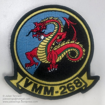 "Embroidered variation of the US Marine Corps Medium Tiltrotor Squadron 268 (VMM-268) patch. VMM-268 is a United States Marine Corps helicopter squadron consisting of MV-22 ""Osprey"" transport aircraft. The squadron, known as the ""Red Dragons"", is based at Marine Corps Base Hawaii, Kaneohe, Hawaii and falls under the command of Marine Aircraft Group 24 (MAG-24) and the 1st Marine Aircraft Wing (1st MAW). VMM-268 undertook a 6 month rotation to Darwin as part of Marine Rotational Force – Darwin 2018 (MRF-D 2018) as part of a bi-lateral programme developed in 2011 to build and strengthen partnerships between US and allied forces in the Pacific. Photo: Julian Tennant"