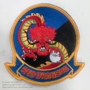 "Embroidered US Marine Corps Medium Tiltrotor Squadron 268 (VMM-268) patch. VMM-268 is a United States Marine Corps helicopter squadron consisting of MV-22 ""Osprey"" transport aircraft. The squadron, known as the ""Red Dragons"", is based at Marine Corps Base Hawaii, Kaneohe, Hawaii and falls under the command of Marine Aircraft Group 24 (MAG-24) and the 1st Marine Aircraft Wing (1st MAW). VMM-268 undertook a 6 month rotation to Darwin as part of Marine Rotational Force – Darwin 2018 (MRF-D 2018) as part of a bi-lateral programme developed in 2011 to build and strengthen partnerships between US and allied forces in the Pacific. Photo: Julian Tennant"