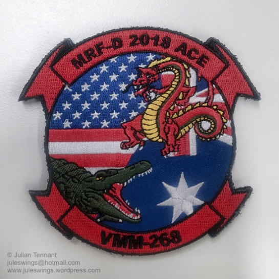 "US Marine Corps Medium Tiltrotor Squadron 268 (VMM-268) Marine Rotational Force - Darwin 2018 patch. VMM-268 is a United States Marine Corps helicopter squadron consisting of MV-22 ""Osprey"" transport aircraft. The squadron, known as the ""Red Dragons"", is based at Marine Corps Base Hawaii, Kaneohe, Hawaii and falls under the command of Marine Aircraft Group 24 (MAG-24) and the 1st Marine Aircraft Wing (1st MAW). VMM-268 undertook a 6 month rotation to Darwin as part of Marine Rotational Force – Darwin 2018 (MRF-D 2018) as part of a bi-lateral programme developed in 2011 to build and strengthen partnerships between US and allied forces in the Pacific. Photo: Julian Tennant"