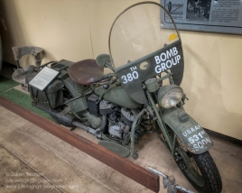 1938 Indian Motor Cycle restored to represent a communications motorcycle of the 380th Bomb Group USAAF. Photo: Julian Tennant