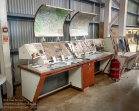 Flight Control panels from the old Darwin Airport. In the foreground is a Dual Flight service console circa 1974, whilst the structure in the background is the Approach Controller's Radar Console, circa 1990. Photo: Julian Tennant