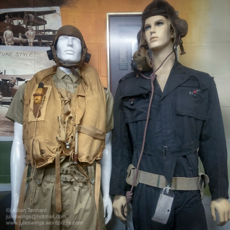 Tropical Spitfire Flying Uniform as worn by pilots of No.1 Fighter Wing, RAAF in 1943/44 (left) and Flying Suit, helmet and oxygen mask of Group Captain Clive Caldwell (right). Visible is the embroidered garland of flowers and and hearts that his wife, Jean, embroidered under the right pocket flap of his flying suit just before he deployed overseas. Photo: Julian Tennant